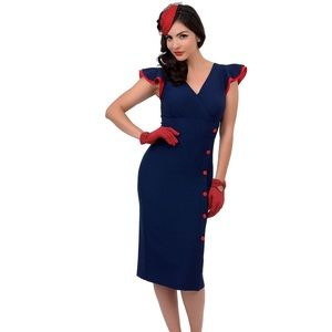 Stop staring navy pinup dress xs nwt